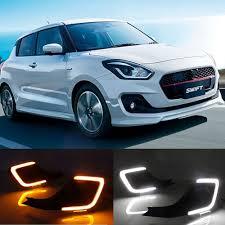 Swift Car Led Lights Us 58 0 10 Off Car Flashing 1 Set For Suzuki Swift 2017 2018 2019 Led Drl Daytime Running Light Daylight Yellow Signal Lamp Car Styling Lights In