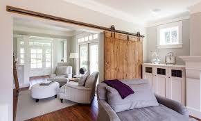 sliding barn door living room accent
