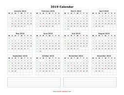 2019 Calendar Horizontal Download Blank Calendar 2019 With Space For Notes 12 Months On One