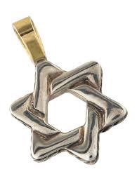 two tone star of david pendant
