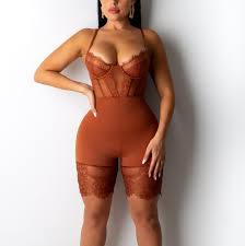 Helisopus Sexy Lace <b>Bodysuit</b> Women <b>Backless</b> Romper Black ...