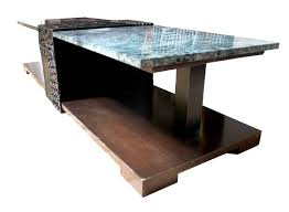 unique thai custom marble and carved wood coffee table circa 1970 in good condition for
