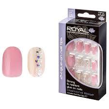 Royal Umělé Nehty Růžové S Kamínky A Lepidlem Diamond Rose Glue On False Nails Tips 24ks S Lepidlem 3g