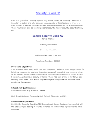 Cover Letter Security Guard Resume Example Example Of Security Guard