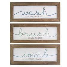 wash brush comb bath art set of 3  on wall art set of 3 bathroom with bath wall signs wall art the home depot