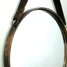 round hanging mirror with leather strap brass and detail wall door tire nz leather strap mirror hanging nz