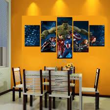 Large Living Room Paintings 5 Pcs Large Hulk Cartoon Living Room Canvas Print Painting For