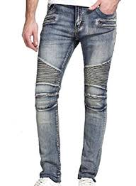 Sebaby Men Washed Rider Style Large Size Button Closure Jean