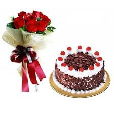 12 Red Roses Flowers Black Forest Cake Order Birthday Gift To