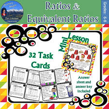 Ratio & Equivalent Ratio Task Cards with Mini Lesson | Word ...