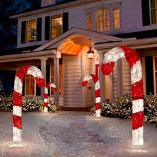 Candy Cane Outdoor Christmas Decorations Tis Your Season 100 Ft Lighted 100D Tinsel Candy Cane Outdoor 1