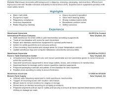 Warehouse Associate Resume Sample Warehouse Worker Resume Sample