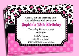 Cheetah Print Party Invitations Cheetah Birthday Invitations Pink