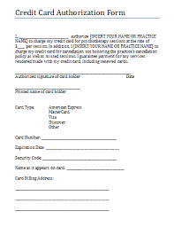 Credit Consent Form Credit Card Authorization And Consent Form For Therapy Practice