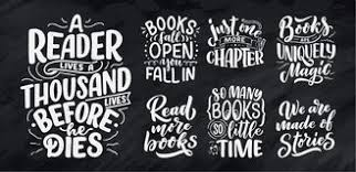 Funny Quotes About Reading Set With Abstract Lettering About Books And Reading For