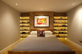 turn the accent brick wall in the bedroom into a sparkling architectural feature design