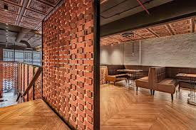 open brick walls act as screens inside