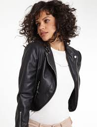 short faux leather jacket with zips