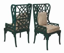 Bamboo Wing Back Chair  One Pair