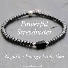 powerful stressbusting negative energy aura emf protection grounding positivity health powerhouse skinny bracelet raw black tourmaline nugget