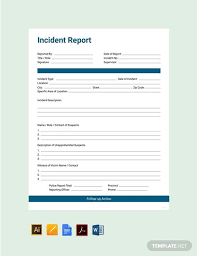 Free Incident Report Template Pdf Word Apple Pages