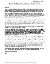 Sample Wedding Day Letter From A Mother To A Son