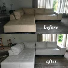 leather paint for couch off white sectional color changed to bright before and after chalk faux leather paint
