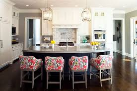 ... View in gallery The bold floral print on the bar stools ...
