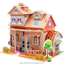 3d diy jigsaw puzzles for kids 3d house puzzle with furniture dollhouse castle brain model diy building sets educational toys creative learning for