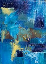 2 5 by 3 5 15 00 oil on watercolor paper an abstract in blue with a lovely hint of yellow