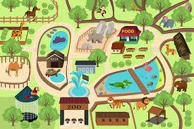zoo map template. Fine Map Map Of A Zoo Park  Animals Characters Throughout Template T