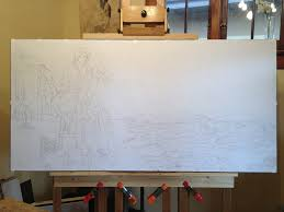 lay the drawing on the canvas transfer process