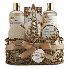 home spa gift basket honey almond scent luxury bath body set for