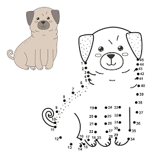 Dog Picture To Color Download Connect The Dots To Draw The Cute Dog
