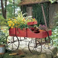 amish wagon decorative garden planter green weathered wood outdoor flower patio