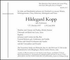 Hildegard Kopp Trauer Traueranzeigen Nachrufe Badische