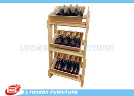 Free Standing Shop Display Units Natural MDF Wood Display Stands SGS Free Standing Wine Display 94