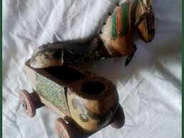 antique indian vintage hand carved wooden horse on wheels e box