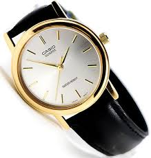casio mtp1095q 7a men s og watch black leather band silver gold face for