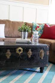 Plus it provides an excellent place to store the mismatch of gadget accessories and kids toys that are often. Diy Made A Coffee Table From An Old Trunk Traditional Coffee Table Diy Coffee Table Painted Rug