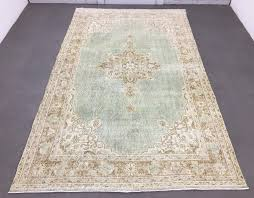 oushak rug 5 5x9 1ft vintage light green rug distressed rug turkish rug big size rug mute creme rug overdyed rug lowpile rug urban rug