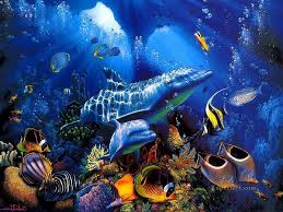 dolphin blue underwater oil paintings