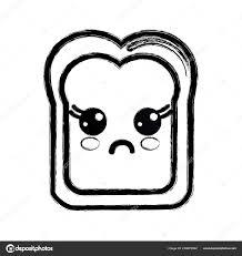 輪郭可愛いかわいいびっくりパン アイコン ベクトル イラスト ストック