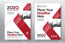 red color scheme with city background business book cover design template in a4 easy to