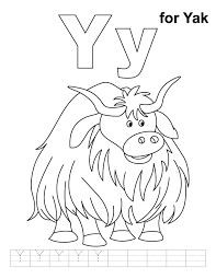 Small Picture Y for yak coloring page with handwriting practice Download Free