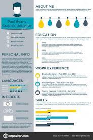 Modern Resume Infographics Colorful Resume Template Flat Style Design Modern Set