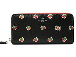 Coach Accordion Zip Clutch Wallet Cherry-Black F56487