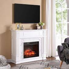 w faux cararra infrared electric media fireplace in white