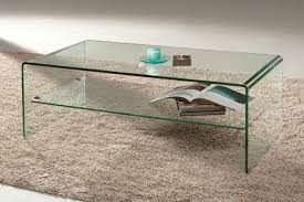 bent glass arch waterfall coffee table with shelf