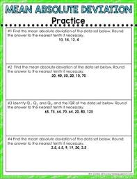 Mean Absolute Deviation Chart Mean Absolute Deviation Digital Interactive Math Notebook